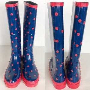 J. Crew Polka Dot Navy/Pink Wellingtons. 8.